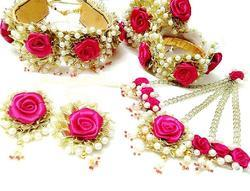 Pink Rose Flower Gota Patti Jewelry Set With 1 Choker