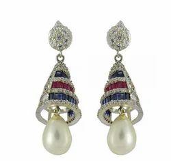 18kt White Gold With Gemstone Pearl Drop Jhumki