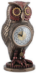 Copper Finish Resin Antique Watch With Owl