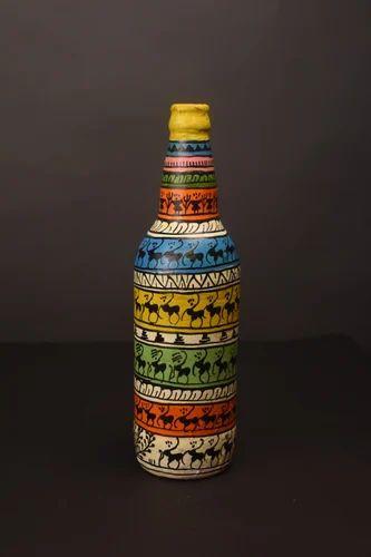 Decorative Hand Painted Terracotta Bottle Home Decor