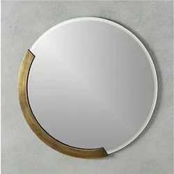 Metal and Glass Miror Mirror for Home, Size: 35d Cm