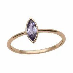 Stackable 9k Yellow Fine Gold Genuine Tanzanite Women Engagement Ring