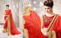 Magnetic Red Embroidered Work Designer Saree