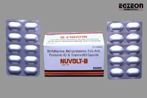 Egzeon Benfotiamine Methylcobalamin Folic Acid Thiamine HCL Capsule, Packaging Type: Alu Alu