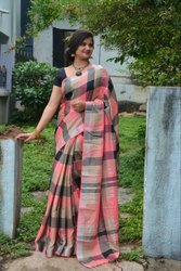 Party wear Cotton Checks Printed Linen Saree, 6 M (with Blouse Piece)