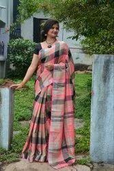 Checks Printed Linen Saree