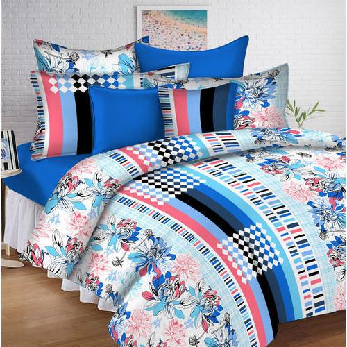 Printed Digital Double Bedsheet, Size: 89x98 Inches