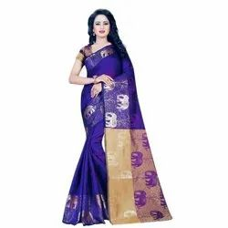 Silk Party Wear Hathi Printed Purple Saree, 5.2 m (separate blouse piece)