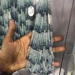 6mm Natural Blue Santa Maria Aquamarine Stone Faceted Rondelle Beads Strand
