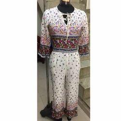 Ladies White Floral Printed Jump Suit