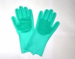 Reusable Silicone Rubber Cleaning and Scrubbing Hand Gloves (1 Pair)