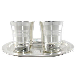 Silver Plated Glass And Tray Set