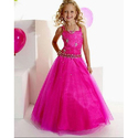 Net, Satin Dark Pink Party Wear Dress, Age Group: 3 To 5 Years
