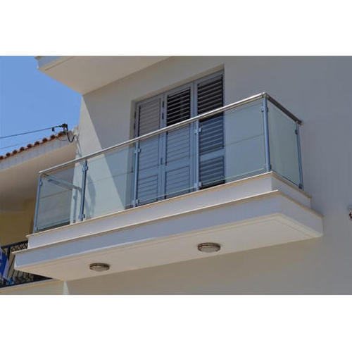 Silver And Balcony Stainless Steel Glass Railing, Rs 1200 ...