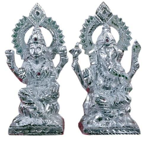 Aluminium Silver Lakshmi Ganesh God Idol White Metal Set By Jy314