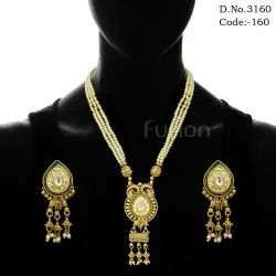 Traditional Pearl Beaded Kundan Pendant Set