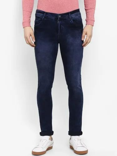 Faded Slim Fit Routeen Men' s Cotton Spandex Jeans