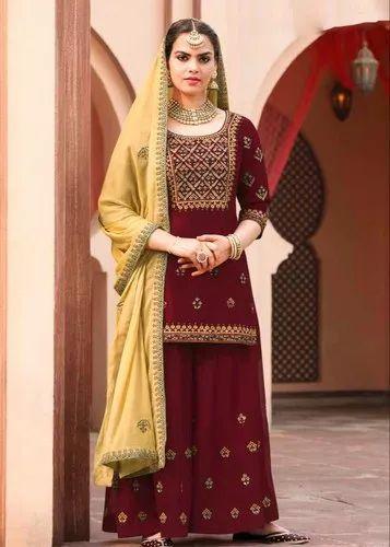 6a73d82c9e8 Maroon Palazzo Pakistani Sharara Suit