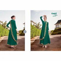 Ladies Cotton Dark Green Anarkali Suit