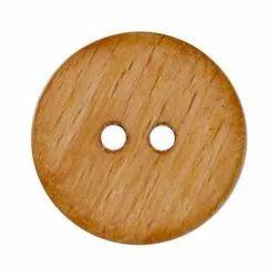 Brown Round Wooden Button