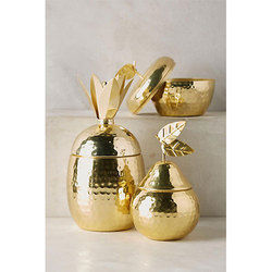 Brass Pear Shaped Jar with Lid for Home & Hotel Decoration