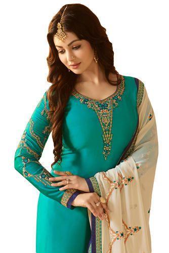 5545c2801e6 Stylish Attractive Wedding Party Wear Satin Churidar Salwar Kameez Suit