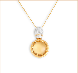 Manufacturer of Tanishq 18KT Yellow Gold Topaz Necklace With Floral