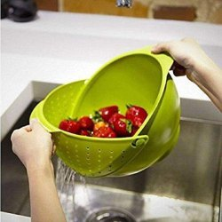 Plastic Vegetable Fruit Basket Rice Wash Sieve Washing - Rice Bowl