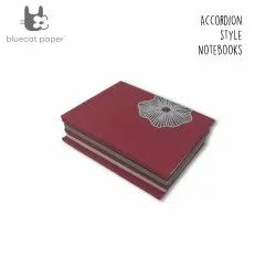 Dull Red With Dark Mauve Poppy Flower Accordion Style Notebook