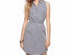 Grey And Stripe Sleeveless Dress