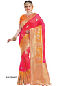 Zardozi Work And Dubka Work Party Wear And Bridal Wear Pink Silk Saree, 5.5 M (separate Blouse Piece)