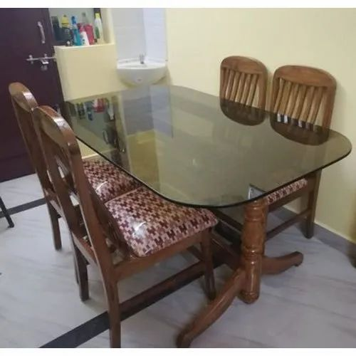 Isaipriya Furniture Wood Frame Glass Table Top Glass Top Dining Table Set For Home Rs 27500 Set Id 21615062833