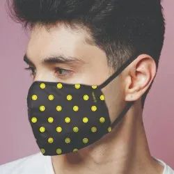 Original Smiley Brand Reusable Anti Viral Face Mask - With 2 Certified Filters - Black AOP