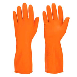 Industrial Orange Rubber Hand Gloves