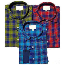 Cotton Formal Wear Mens Casual Check Shirts