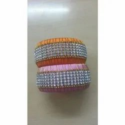 Indian Silk Thread Bangle With Stone