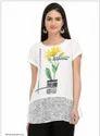 White Printed Short Sleeve Top
