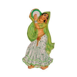 Village Lady Wall Hanging Playing Tambourine- Light Green