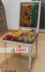 Jangid Art & Crafts Wood Indian Upholstered Dining Chair