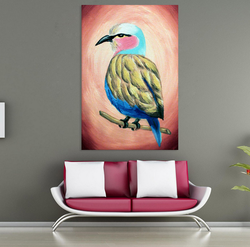 Inephos Canvas Painting - Beautiful Bird Art Wall Painting, Size: 91cm X 61cm (including 1cm Border For Framing)