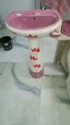 Wall Mounted Round Ceramic Pedestal Wash Basin