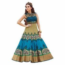 Silk Printed Sleeveless Anarkali Suit