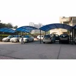FRP product Available Blue and White Car Parking Shed