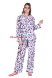 Ladies Hand Block Print Ladies Pyjama Set Night Wear Suit