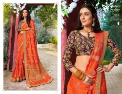 Designer Party Dark Orange Sarees
