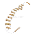 Beige Wooden Wheel Body Back Waist Care Roller Massager