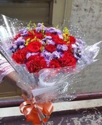 Red Rose And Purple Flower Bouquet