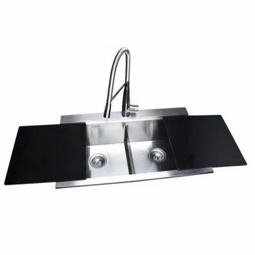 Futura Glass Kitchen Sink, Size: 838x508x220mm