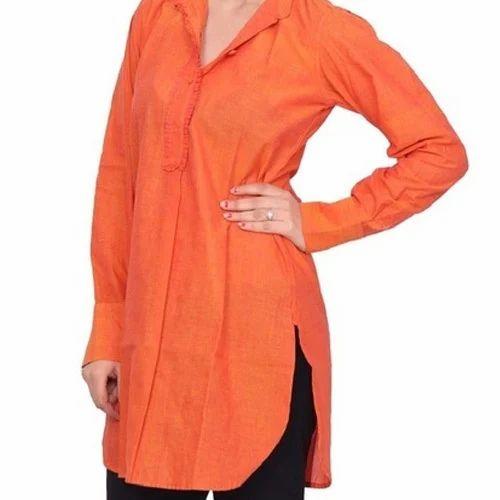 Orange Cotton Apple Cut Kurti 2435b8145