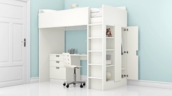 Kids Bunk Bed With Wardrobe